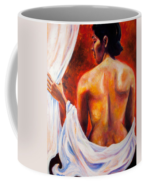 Nude Coffee Mug featuring the painting The World At Bay by Jason Reinhardt