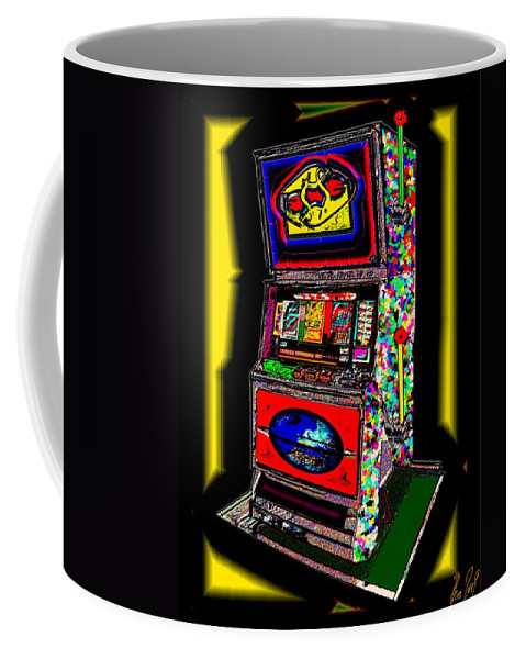 Greed Coffee Mug featuring the digital art the World-Trade-Slot-Machine by Helmut Rottler