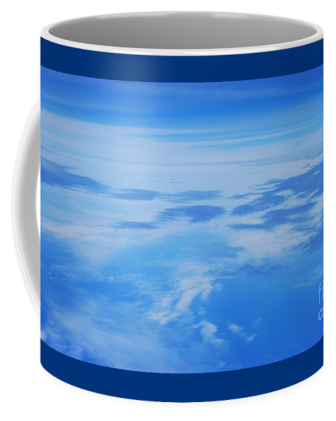 Aerial Art Feng Shui Minimalism Serenity Meditation Spiritual Cloud Blue Stock Shot Nature Metal Frame Poster Print Wood Print Canvas Print Available On Greeting Cards Mugs Shower Curtains Tote Bags T Shirts Pouches Weekender Tote Bags Fleece Blankets And Yoga Mats Coffee Mug featuring the photograph The World Up There # 2 by Marcus Dagan