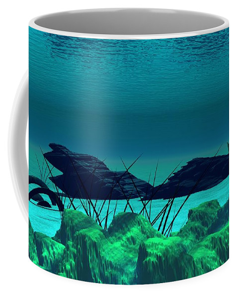 Fantasy Coffee Mug featuring the digital art The Wreck Diving The Reef Series by David Lane