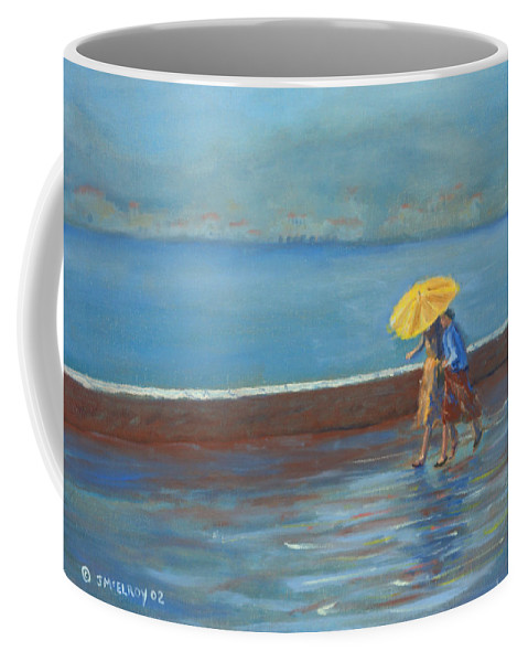 Rain Coffee Mug featuring the painting The Yellow Umbrella by Jerry McElroy