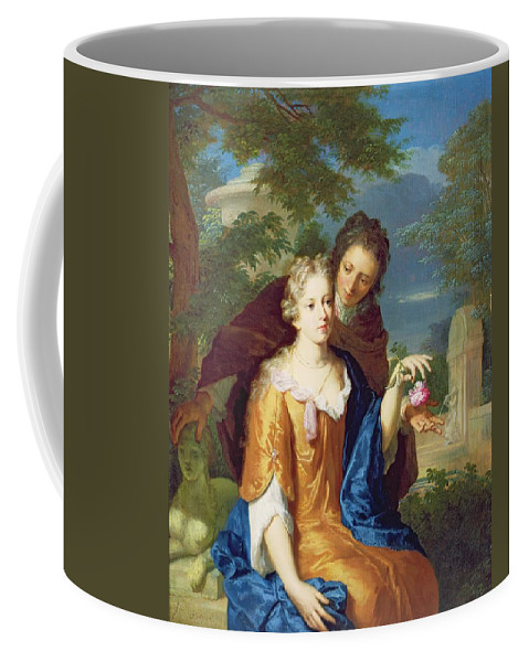 Love Coffee Mug featuring the painting The Young Lovers by Gerard Hoet