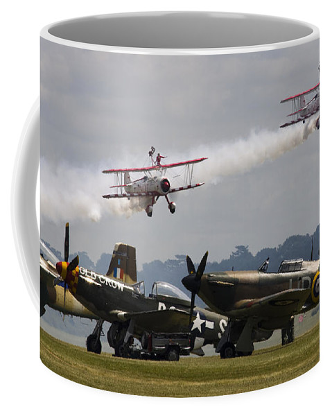 Spitfire Coffee Mug featuring the photograph The Youngsters And Oldies by Angel Ciesniarska