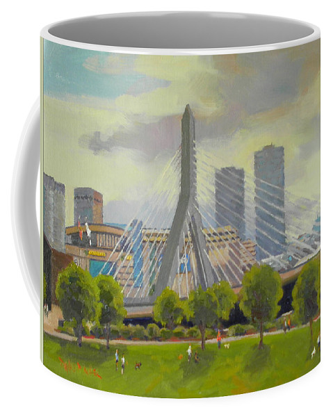 Bridge Coffee Mug featuring the painting The Zakim Bridge by Dianne Panarelli Miller