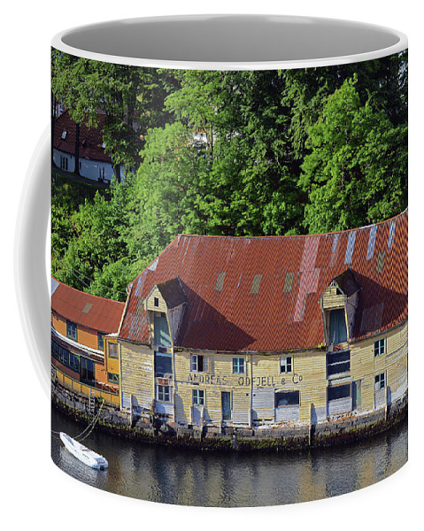 Norway Coffee Mug featuring the photograph The 1905 Wooden Andreas Odfjell Warehouse On Bergen Harbor by Harvey Barrison