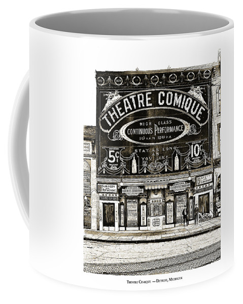 Comic Coffee Mug featuring the drawing Theatre Comique by Greg Joens