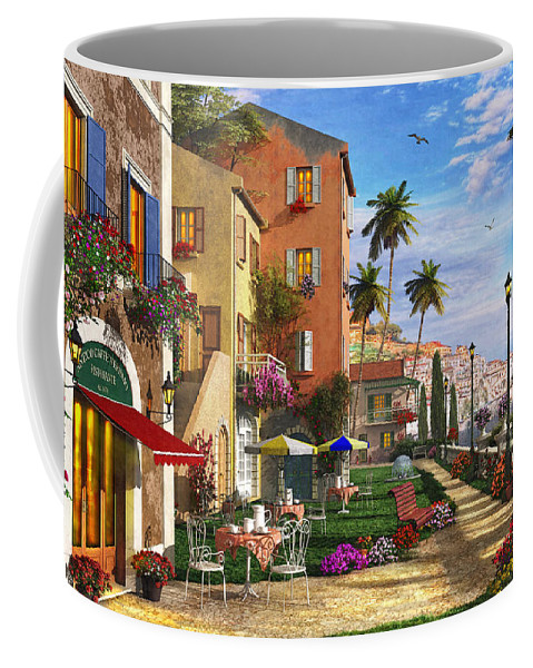 Cottage Coffee Mug featuring the digital art Themed Terrace by Dominic Davison