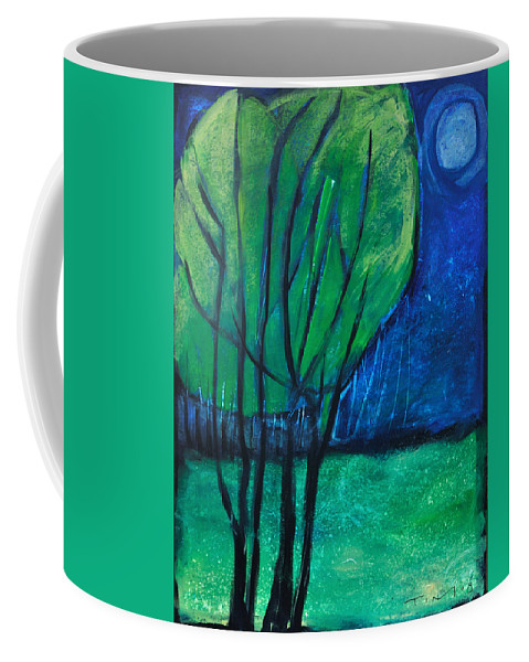 Trees Coffee Mug featuring the painting Then Came Evening by Tim Nyberg