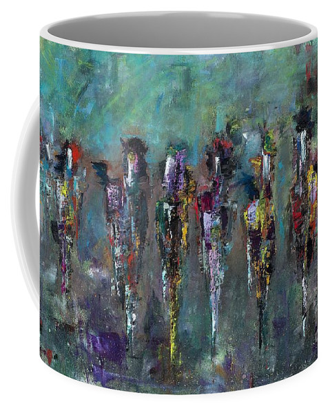 Abstract Art Coffee Mug featuring the painting Then Came Seven Horses by Frances Marino