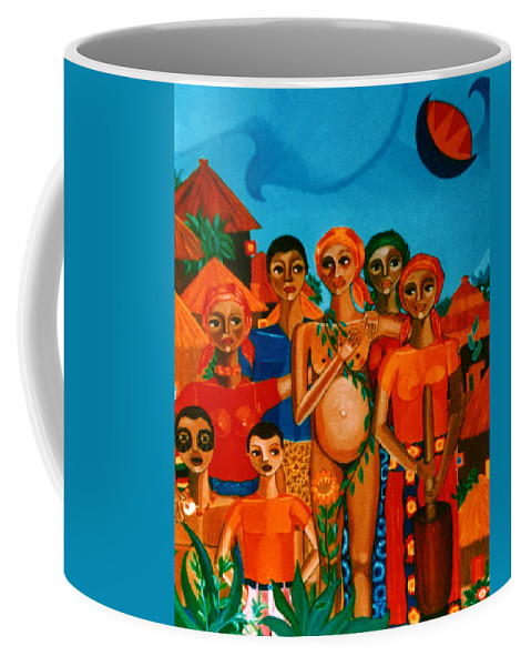 Pregnant Women Coffee Mug featuring the painting There Are Always Sunflowers For Those Waiting A New Life by Madalena Lobao-Tello