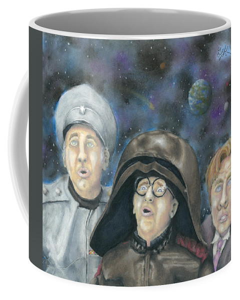 Spaceballs Coffee Mug featuring the drawing There Goes The Planet by Geoff Hinkley