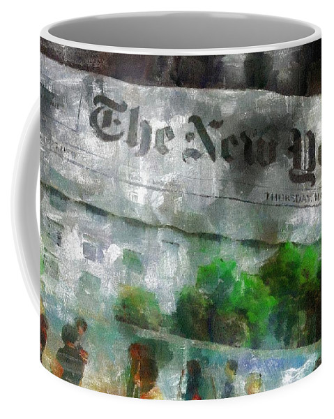 Editorial Coffee Mug featuring the painting There Is No News Fit To Print by RC DeWinter
