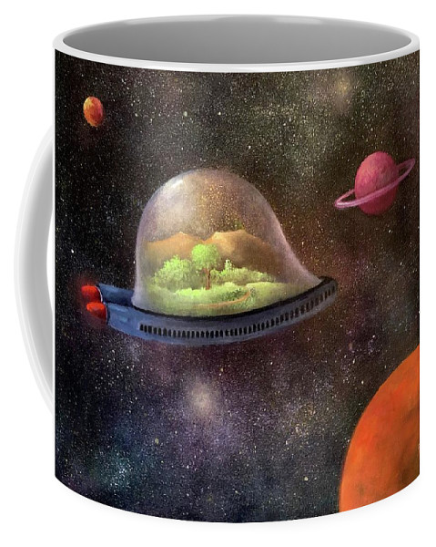 Space Coffee Mug featuring the painting They Took Their World With Them by Randy Burns