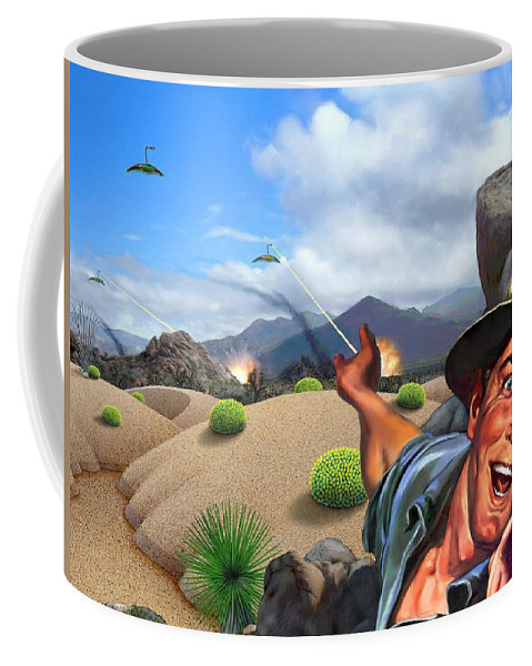 Landscape Coffee Mug featuring the digital art They're Here by Snake Jagger