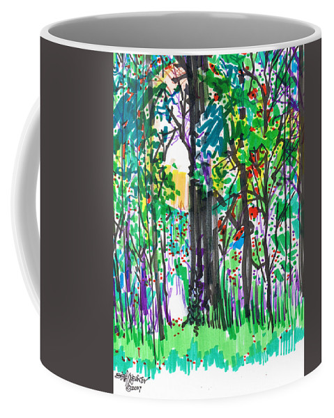 Forest Coffee Mug featuring the drawing Thicket by Seth Weaver
