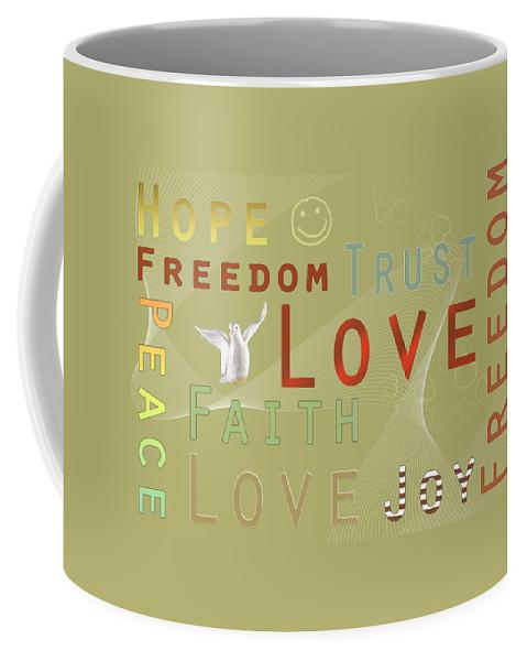 Fine Coffee Mug featuring the digital art Think Positive by Jutta Maria Pusl