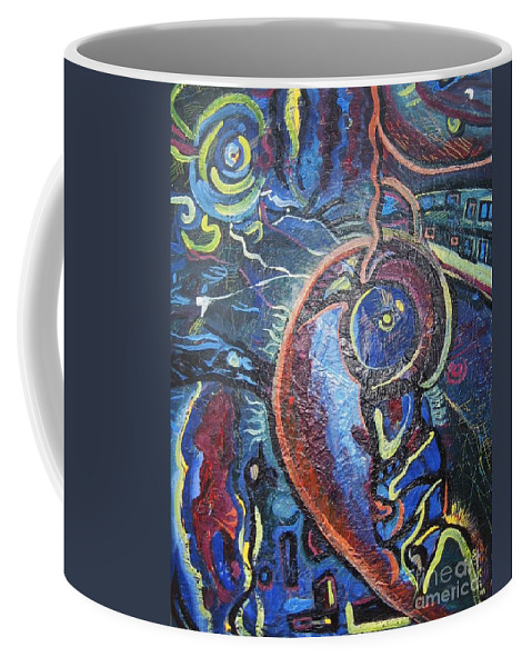 Abstract Contemporary Home Blue Oil Canvas Board Coffee Mug featuring the painting Thinking Of Home by Seon-Jeong Kim