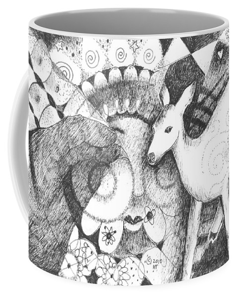 Deer Coffee Mug featuring the drawing Thinking Of Mary by Helena Tiainen