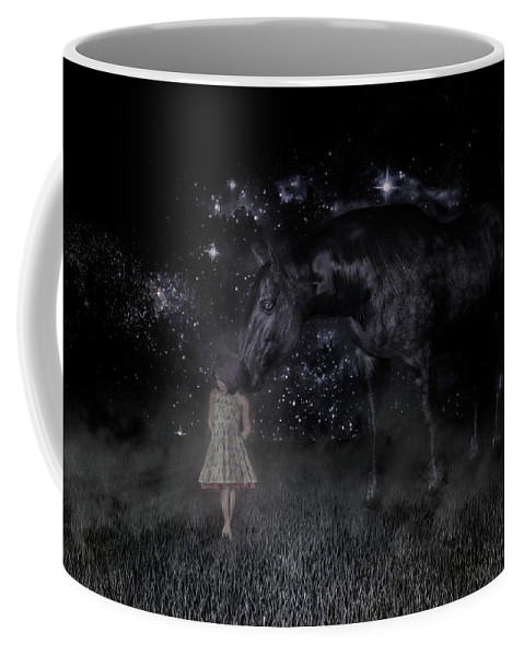 Horse Coffee Mug featuring the digital art Thinking Of You by Betsy Knapp