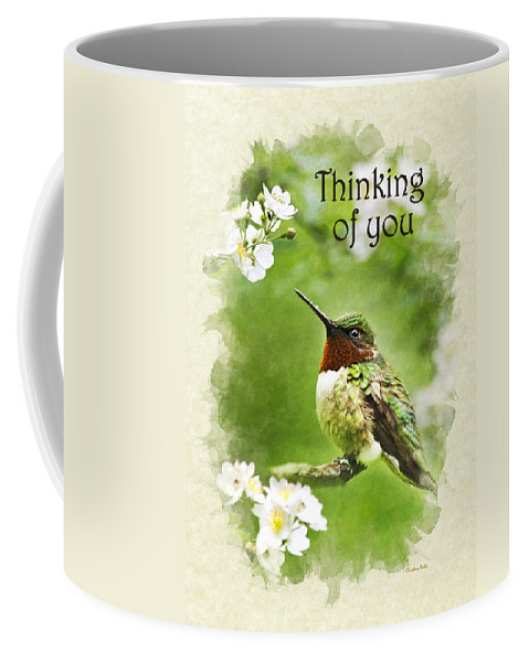 Thinking Of You Coffee Mug featuring the mixed media Thinking Of You Hummingbird Flora Fauna Greeting Card by Christina Rollo