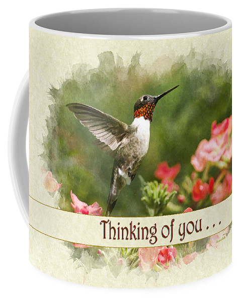 Thinking Of You Coffee Mug featuring the mixed media Thinking Of You Hummingbird Garden Jewel Greeting Card by Christina Rollo