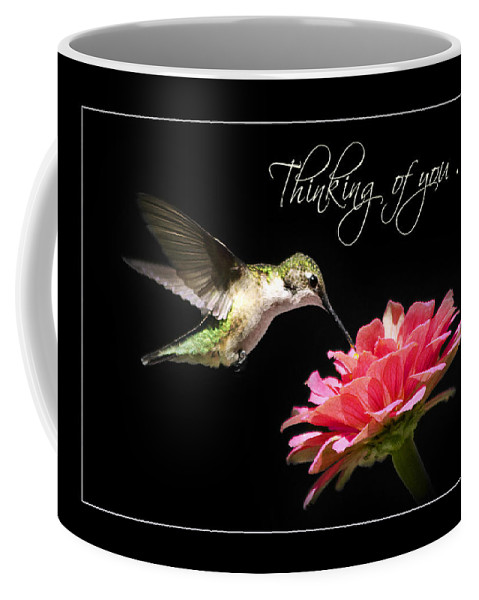 Thinking Of You Coffee Mug featuring the mixed media Thinking Of You Hummingbird Greeting Card by Christina Rollo