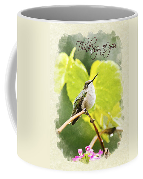 Thinking Of You Coffee Mug featuring the mixed media Thinking Of You Hummingbird In The Rain Greeting Card by Christina Rollo