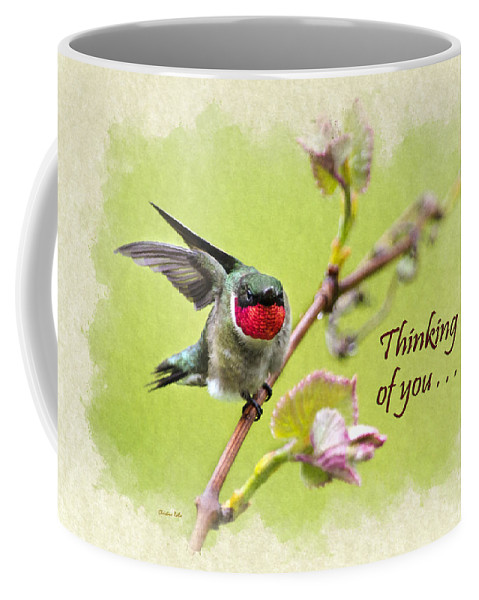 Thinking Of You Coffee Mug featuring the mixed media Thinking Of You Hummingbird Wing And A Prayer Greeting Card by Christina Rollo