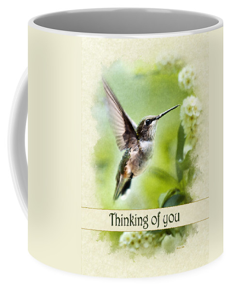 Thinking Of You Coffee Mug featuring the mixed media Thinking Of You Peaceful Love Hummingbird Greeting Card by Christina Rollo