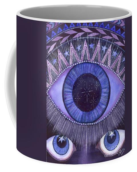 Thrid Eye Coffee Mug featuring the painting Third Eye Chakra by Catherine G McElroy