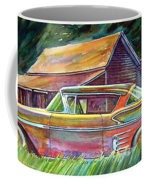 Rusty Car Chev Impala Coffee Mug featuring the painting This Impala Doesn by Ron Morrison