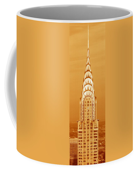 Photography Coffee Mug featuring the photograph Chrysler Building at sunset by Panoramic Images