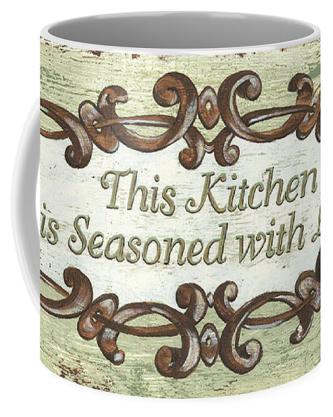 Sign Coffee Mug featuring the painting This Kitchen by Debbie DeWitt