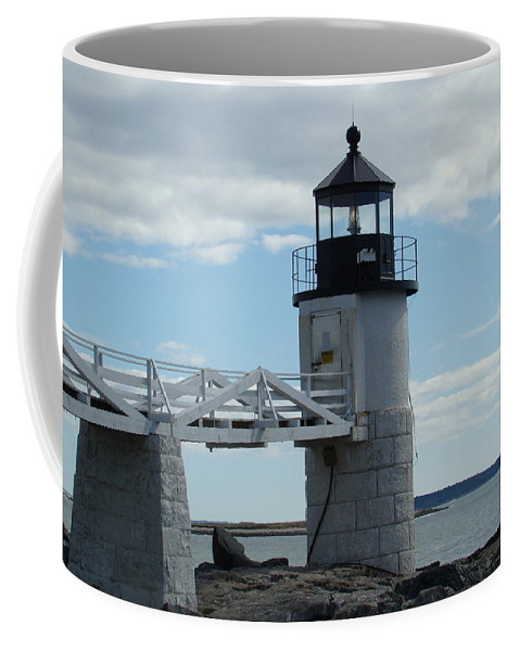 A Lighthouse Southwest Of Rockland Coffee Mug featuring the photograph This Timeless Place by Allen Foley