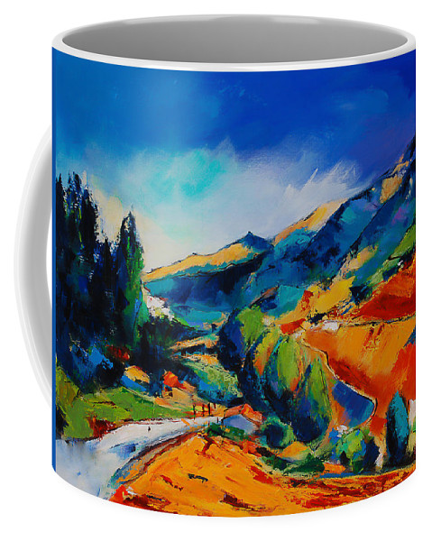 This Way To Heaven Coffee Mug featuring the painting This Way To Heaven by Elise Palmigiani