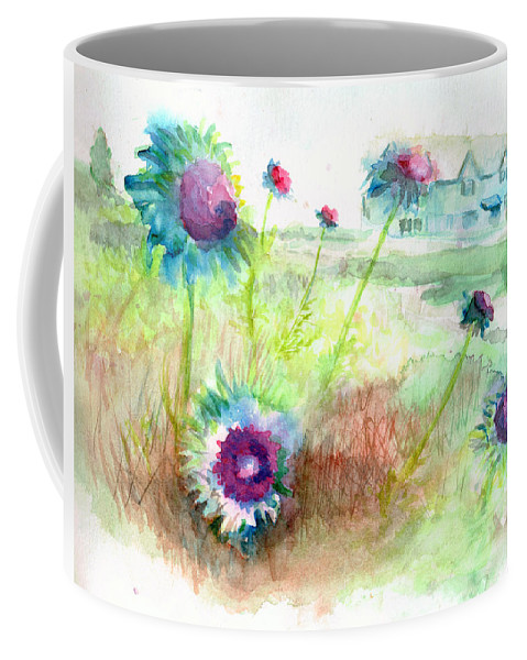 Thistle Coffee Mug featuring the painting Thistles #1 by Andrew Gillette