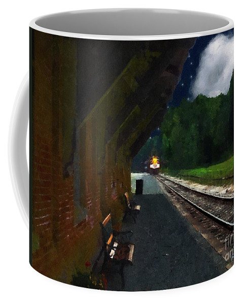 Autumn Coffee Mug featuring the painting Thomaston Train At Night by RC DeWinter