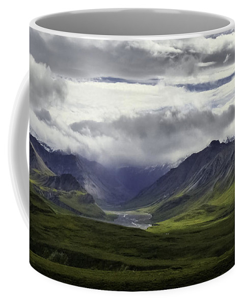 Denali Grandeur Coffee Mug featuring the photograph Thorofare River Valley Alaska by Teresa A and Preston S Cole Photography