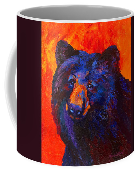 Bear Coffee Mug featuring the painting Thoughtful - Black Bear by Marion Rose