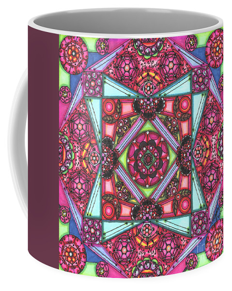 Abstract Coffee Mug featuring the painting Thoughts Of Pink by Vicki Baun Barry