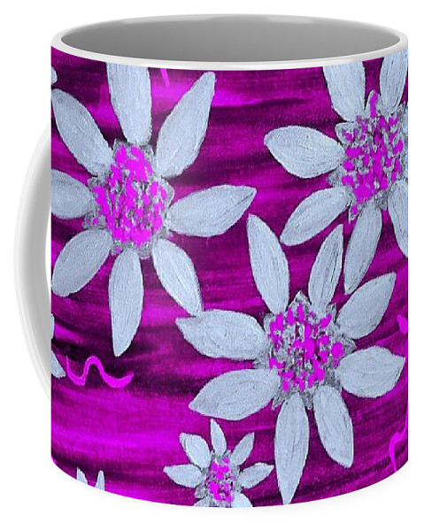 Pink Coffee Mug featuring the painting Three And Twenty Flowers On Pink by Rachel Hannah