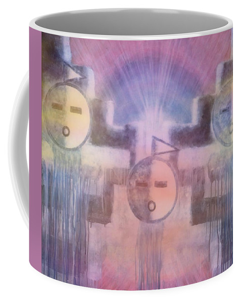 Native American Coffee Mug featuring the painting Three Angels Of The Thunder Clouds by Anastasia Savage Ealy