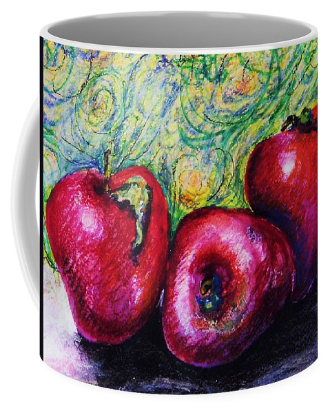 Apples Coffee Mug featuring the mixed media Three Apples by Emily Michaud