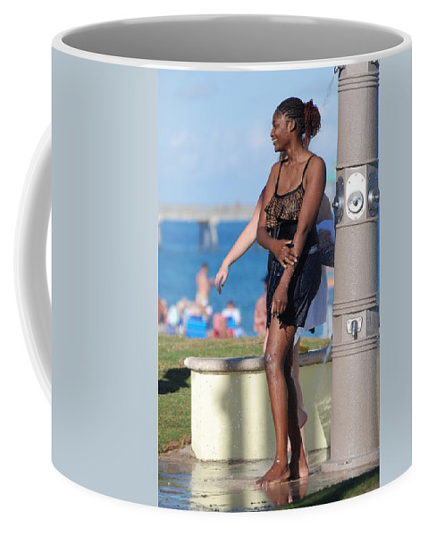 Bathing Suit Coffee Mug featuring the photograph Three Arms At The Shower by Rob Hans