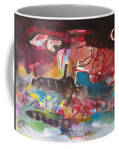 Original Coffee Mug featuring the painting Three Arms10 Original Abstract Colorful Landscape Painting For Sale Red Blue Green by Seon-Jeong Kim