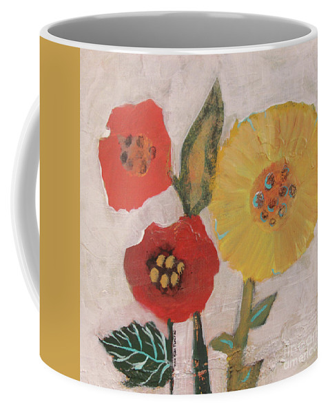 Three Coffee Mug featuring the painting Three Awkward Flower Blossoms by Robin Maria Pedrero