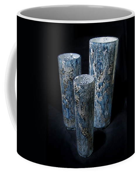Blue Coffee Mug featuring the mixed media Three Blue Cylinders by Christopher Schranck