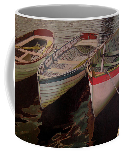 Boats Coffee Mug featuring the painting Three Boats by Thu Nguyen