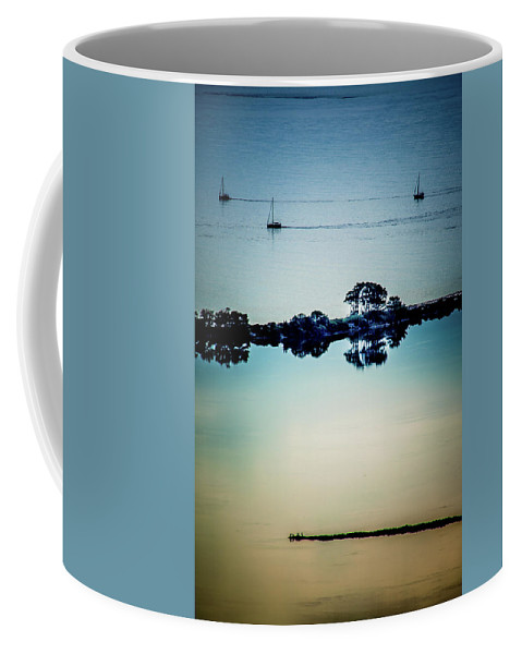 Landscape. Seascape. Boats. Sailing. Coffee Mug featuring the photograph Three Boats by Yau Ming Low
