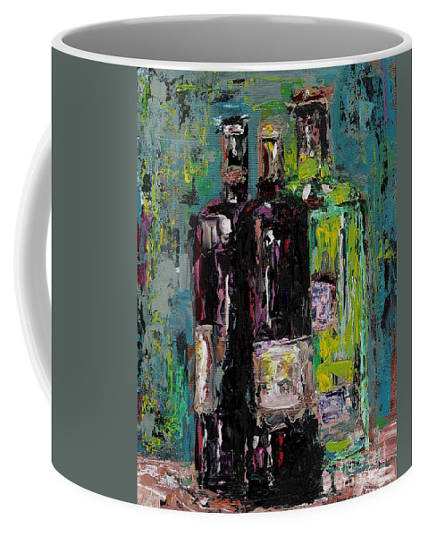 Wine Coffee Mug featuring the painting Three Bottles Of Wine by Frances Marino